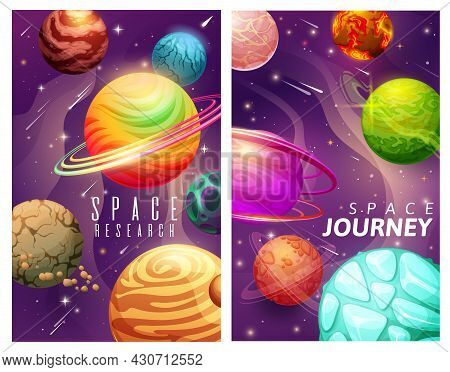 Cartoon Space Planets And Stars, Galaxy Journey And Research Vector Posters. Universe Exploration, A