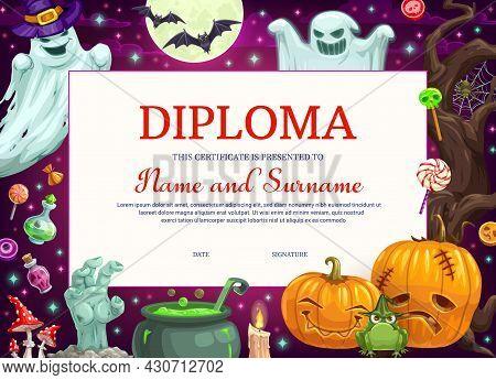 Kids Diploma Certificate With Halloween Monsters, Education Vector Template. School Graduation Diplo