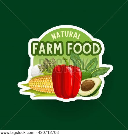 Farm Vegetables Badge Or Icon. Organic Food Vector Icon With Bell Pepper, Corn, Avocado And Spinach