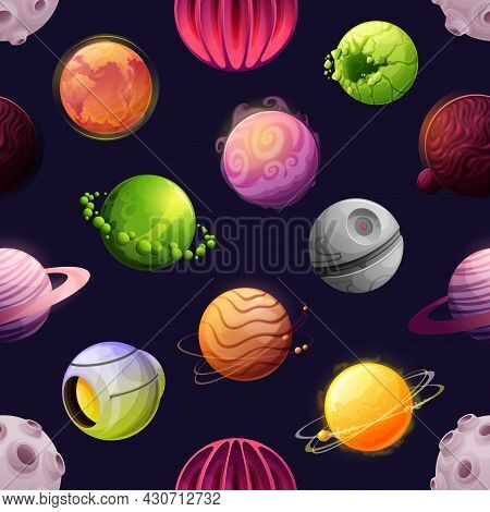 Cartoon Space Futuristic Planets And Stars Seamless Pattern. Vector Asteroids, Fantastic Cosmic Alie