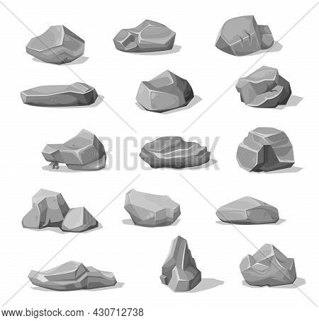 Cartoon Rock Stones And Boulders, Grey Rubble Gravel And Cobble Piles, Vector. Gray Rock Stones Or D