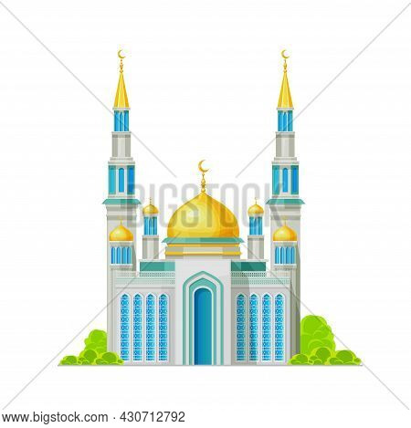 Muslim Mosque Building Icon, Islam Religion Shrine, Vector Architecture. Arabian Or Egyptian Muslim