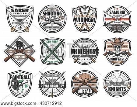 Guns, Battle Weapon And Hunting Ammo Vector Icons. Wild West Revolvers, Saber Fencing Emblem, Crosse