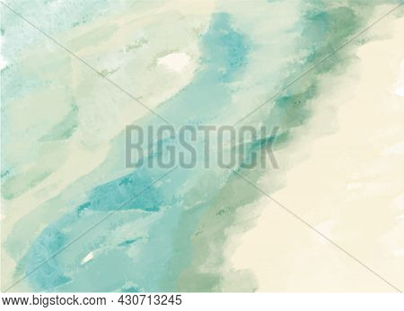 Abstract Artistic Vector Watercolor Paint Textured Paper Background. Blue Green Splash Soft Backdrop
