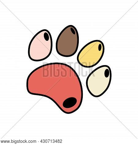 Cute Funny Silhouette Of Animal Footprints On White Background. Cats And Dogs Paw Icon.