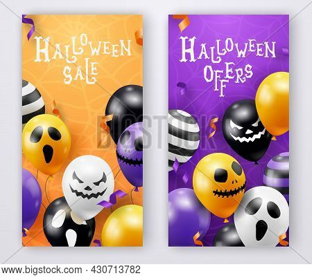 Two Halloween Vertical Banners With Ghost Balloons. Creepy Scary Faces On Balloons. Decoration Eleme