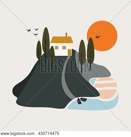 Scene With A Hill, A House, A Lake And Boats. The House Is On A Hill. Sunset. Vector Flat Illustrati