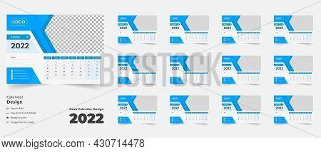 2022 Desk Calendar With Blue Layout,blue Desk Calendar 2022,new Desk Calendar 2021 Template - 12 Mon