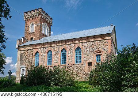 Old Ancient Orthodox Church Of St. Barbara, Side View. Raitsa Village, Grodno Region, Korelichi Dist