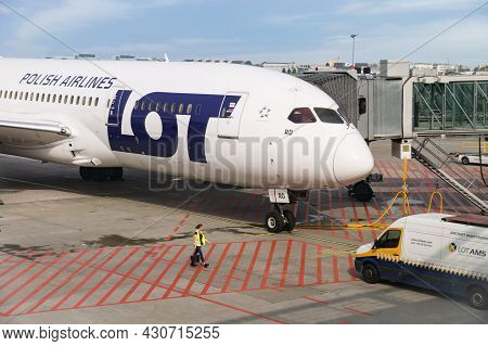 Warsaw, Poland - 07 14 2021: Boeing 787 Dreamliner Of Lot Polish Airlines, The Flag Carrier Of Polan