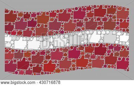 Mosaic Waving Latvia Flag Designed Of Thumb Up Items. Vector Confirmation Mosaic Waving Latvia Flag
