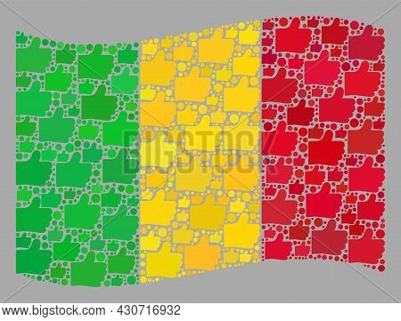 Mosaic Waving Mali Flag Designed With Thumb Up Icons. Vector Positive Collage Waving Mali Flag Combi