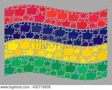 Mosaic Waving Mauritius Flag Designed With Thumb Up Items. Vector Selection Mosaic Waving Mauritius