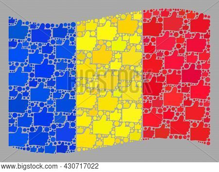 Mosaic Waving Romania Flag Designed Of Like Items. Vector Approval Collage Waving Romania Flag Const