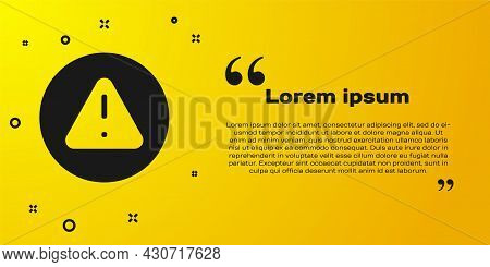 Black Exclamation Mark In Triangle Icon Isolated On Yellow Background. Hazard Warning Sign, Careful,