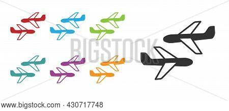 Black Plane Icon Isolated On White Background. Flying Airplane Icon. Airliner Sign. Set Icons Colorf