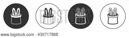 Black Magician Hat And Rabbit Ears Icon Isolated On White Background. Magic Trick. Mystery Entertain
