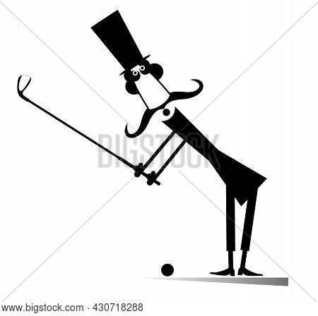 Long Mustache Man In The Top Hat Playing Golf Isolated Illustration.  Cartoon Long Mustache Gentlema