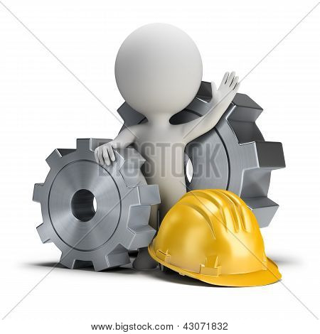 3D Small People - Gears And Helmet