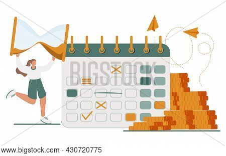 Pay Check, Salary Or Payroll Concept. Tiny Businesswoman Character With Clock In Hands Stand Near Go