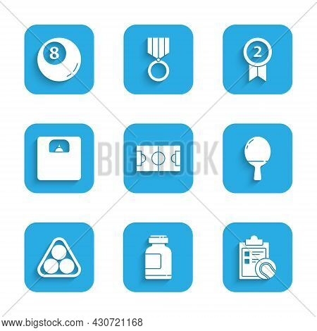 Set Football Or Soccer Field, Sports Nutrition, Checklist Clipboard And Tennis, Racket For Playing T