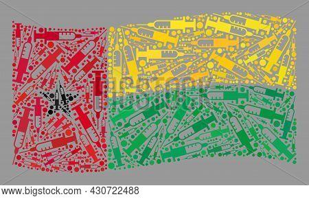 Mosaic Waving Guinea-bissau Flag Designed Of Syringe Elements. Vector Covid-2019 Treatment Collage W