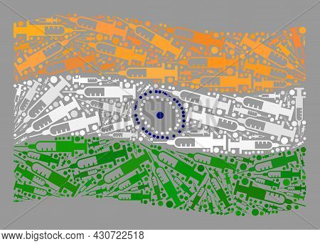Mosaic Waving India Flag Designed Of Vaccine Items. Vector Covid-2019 Treatment Mosaic Waving India