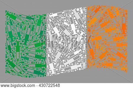 Mosaic Waving Ireland Flag Created With Syringe Elements. Vector Covid-2019 Treatment Collage Waving