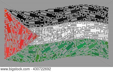 Mosaic Waving Palestine Flag Constructed With Vaccine Items. Vector Vaccination Collage Waving Pales