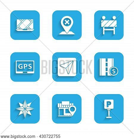 Set Infographic Of City Map Navigation, Location With Store, Parking, Toll Road Traffic Sign, Wind R