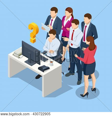 Isometric Business Corporate Management Planning Team Concept. Business Project Team Working Togethe
