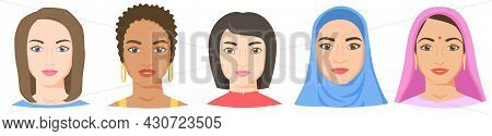 Women With Different Ethnicity, Race And Appearance. White, Black, Asian, Arab, Indian Female Faces