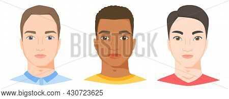 Men With Different Ethnicity, Race And Appearance. White, Black And Asian Male Faces In Flat Style.