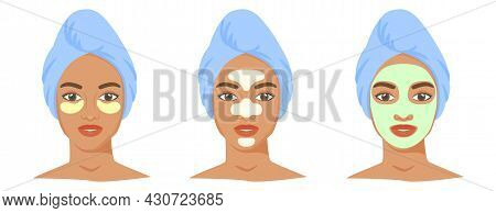 Different Cosmetic Products Set. T-zone Strips, Clay Or Sheet Mask, Eye Patches. Black Woman With To