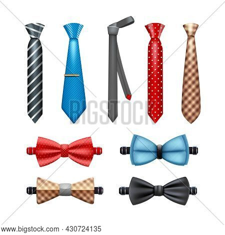 Tie And Bow Tie Realistic Set In Different Shapes And Colors Isolated Vector Illustration