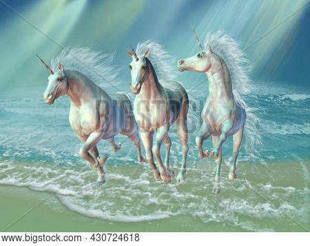 Sea Unicorns 3d Illustration - A Herd Of Unicorns Gallop Through The Waves As Sunrays Shine Down On