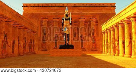 Temple Of Horus 3d Illustration - The Horus God Of Egyptian History Depicted By The Falcon Bird Was