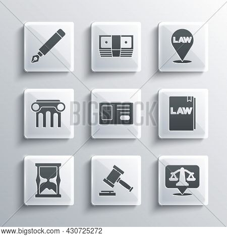 Set Judge Gavel, Scales Of Justice, Law Book, Identification Badge, Old Hourglass, Pillar, Fountain
