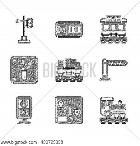 Set Cargo Train Wagon, Route Location, Vintage Locomotive, Railway Barrier, Information Stand, Repai
