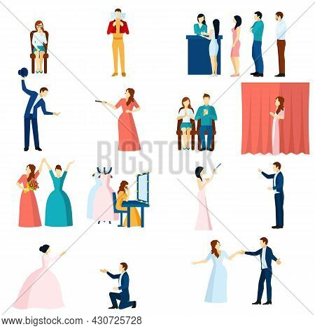 Theater Acting Flat Icons Collection With Final Love Scene Performance And Audience Applause Abstrac