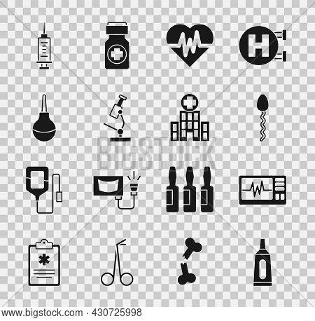 Set Ointment Cream Tube Medicine, Monitor With Cardiogram, Sperm, Heart Rate, Microscope, Enema, Syr