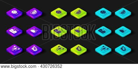 Set Lobster, Mussel, Whale Tail In Ocean Wave, Crab, And Fish Hedgehog Icon. Vector