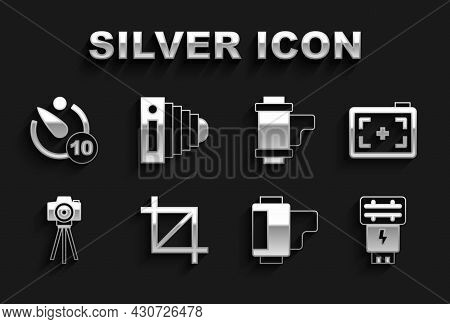 Set Picture Crop Photo, Photo Camera, Flash, Camera Roll Cartridge, Timer And Icon. Vector