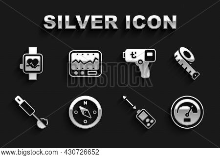 Set Compass, Measuring Tape, Speedometer, Laser Distance Measurer, Spoon, Digital Thermometer, Smart