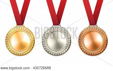 Gold Silver And Bronze Medals Set With Ribbons Realistic Isolated Vector Illustration