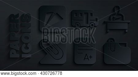Set Exam Sheet With A Plus Grade, Schoolboy Sitting At Desk, Paper Clip, Document Folder, Bus And Ai
