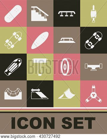 Set Skateboard Y-tool, Wheel, Stairs With Rail, Longboard Or Skateboard, And Icon. Vector