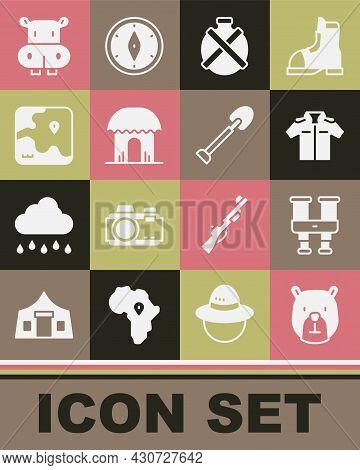 Set Bear Head, Binoculars, Shirt, Canteen Water Bottle, African Hut, Safari Map, Hippo Or Hippopotam