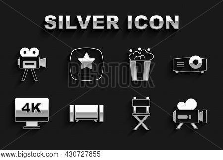 Set Smart Tv, Movie, Film, Media Projector, Retro Cinema Camera, Director Movie Chair, Screen Tv Wit