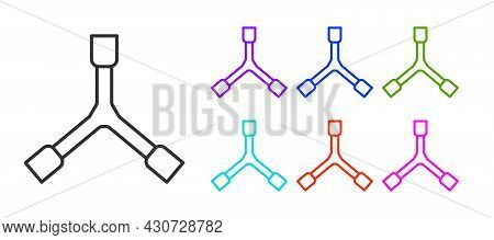Black Line Skateboard Y-tool Icon Isolated On White Background. Set Icons Colorful. Vector